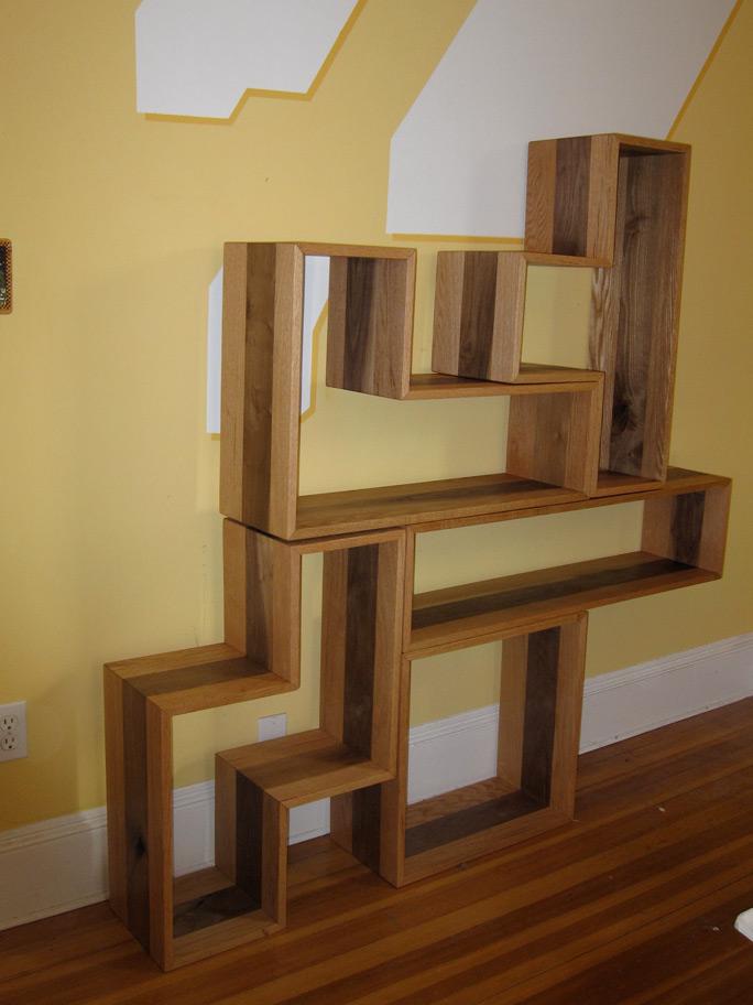 Wooden tetris shelves for Tetris bookshelf
